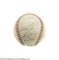 Autographs:Baseballs, 1965 Los Angeles Dodgers Team Signed Baseball. In their eighthseason away from Ebbets, the Bums were bums no longer, winni...