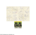 Football Collectibles:Others, 1967 Green Bay Packers Team Signed Sheets & Super Bowl II Stubs (2). Lombardi's unstoppable gridiron force makes it two for...