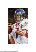 """Football Collectibles:Others, John Elway Original Painting by Otterstad. Fine impressionistic work comes from the studio of noted sports artist """"Opie"""" Ot..."""