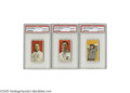 Baseball Cards:Lots, 1909-11 T206 PSA-Graded NM-MT 8 Lot of 3. We assume there is noneed to discuss the extreme scarcity of tobacco cards in su...