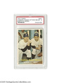 Baseball Cards:Singles (1950-1959), 1957 Topps Yankees Power Hitters Mantle & Berra #407 PSA NM-MT8. A favorite of many collectors for the convergence of two ...