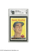 Baseball Cards:Singles (1950-1959), 1958 Topps Sandy Koufax #187 GAI Mint 9. Though short by Hall ofFame standards, Koufax' career stands as one of the finest...