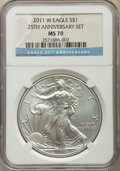Five-Piece Lot of 2011-Dated Silver Eagles, 25th Anniversary, NGC. The lot includes: (2) 2011 MS70, one designated as Ea...