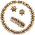 Estate Jewelry:Suites, Sapphire, Cultured Pearl, Gold Jewelry Suite . ... (Total: 3 Items)