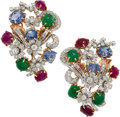 Estate Jewelry:Brooches - Pins, Ruby, Sapphire, Emerald, Diamond, Platinum, Gold Clip-Broo...