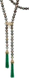 Estate Jewelry:Necklaces, South Sea Cultured Pearl, Diamond, Emerald, Gold Necklace ...