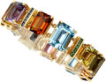 Estate Jewelry:Bracelets, Multi-Stone, Diamond, Colored Diamond, Gold Bracelet, Mish NY. ...