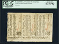 Colonial Notes:North Carolina, North Carolina December, 1771 2s/6d-£1-10s House Uncut VerticalStrip of Three PCGS Choice New 63PPQ.. ...