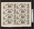 Confederate Notes:1861 Issues, T18 $20 1861 PF-7 Cr. 107 Uncut Sheet of Eight.. ...