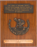 Football Collectibles:Others, 1950 Outland Trophy Award Presented to Bob Gain....