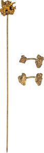 Western Expansion:Goldrush, Vintage Gold Nugget Jewelry: A Pair of Cufflinks and a Hatpin,...(Total: 2 Items)