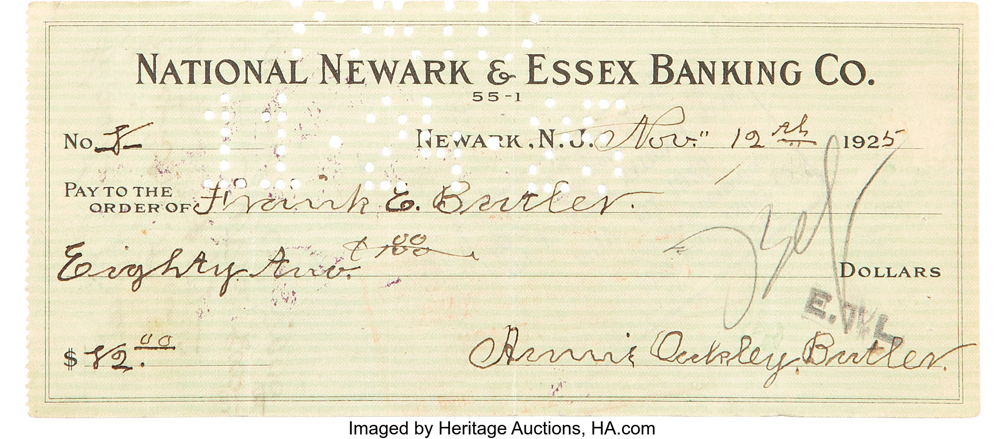 Annie Oakley: A Wonderful Signed Personal Check Made Out to Her