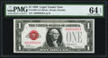 Small Size:Legal Tender Notes, Low Serial Number 26 Fr. 1500 $1 1928 Legal Tender Note. PMG Choice Uncirculated 64 EPQ.. ...