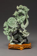 Asian:Chinese, A Chinese Carved Hardstone Dragon and Qilin Group on HardwoodStand. 8-5/8 x 6-1/4 x 3 inches (21.9 x 15.9 x 7.6 cm) (exclud...(Total: 2 Items)