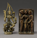 Asian:Chinese, Two Sino-Tibetan Diminutive Erotic and Deity Bronzes. 2-7/8 inches(7.3 cm) (taller). ... (Total: 2 Items)