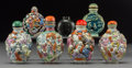 Asian:Chinese, Seven Chinese Snuff BottlesMarks: (various)