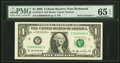 Small Size:Federal Reserve Notes, Serial Number One Fr. 1933-E $1 2006 Federal Reserve Note. PMG Gem Uncirculated 65 EPQ.. ...