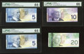 Canadian Currency, BC-62a $5 2002, Two Consecutive Examples;. BC-63a $10 2001;. BC-64a-i $20 2006. ... (Total: 4 notes)