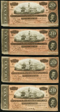 Confederate Notes, T67 $20 1864 Four Examples.. ... (Total: 4 notes)