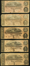 Confederate Notes, T69 $5 1864. Five Examples. ... (Total: 5 notes)