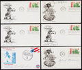 Autographs:Letters, Pro Football Hall of Fame First Day Cover Signed Lot of 6.. ...