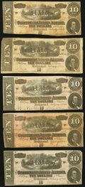 Confederate Notes, T68 $10 1864 Five Examples.. ... (Total: 5 notes)