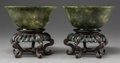 Asian:Chinese, A Pair of Chinese Carved Green Agate Bowls on Hardwood Stands.2-5/8 x 5-7/8 inches (6.7 x 14.9 cm) (bowl, excludin...