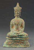 Asian:Other, A Thai Seated Bronze Buddha Figure. 8-1/2 x 5-1/4 x 2-1/4 inches(21.6 x 13.3 x 5.7 cm). ...