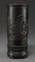 Asian:Chinese, A Chinese Carved Hardwood Brushpot with Phoenix Motif. 7-7/8 inches(20.0 cm). ...