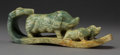 Asian:Chinese, A Chinese Carved Hardstone Sow and Piglet Group on Ruyi Scepter.2-5/8 x 7-1/2 x 1-1/2 inches (6.7 x 19.1 x 3.8 cm). ...