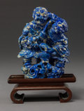 Asian:Chinese, A Chinese Carved Lapis Lazuli Figural Group on Stand. 5 x 3-3/4 x2-3/8 inches (12.7 x 9.5 x 6.0 cm) (carving, excluding sta...(Total: 2 Items)