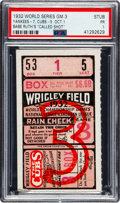 """Baseball Collectibles:Tickets, 1932 World Series Babe Ruth """"Called Shot"""" Game Ticket Stub PSA Poor 1. ..."""