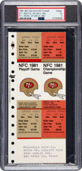 """Football Collectibles:Tickets, 1981 NFC Championship Game """"The Catch"""" Full Ticket, PSA/DNA EX 5 - With Additional Playoff Ticket Attached. ..."""