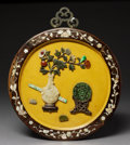 Asian:Chinese, A Chinese Lacquered and Hardstone-Embellished Panel, RepublicPeriod, circa 1912-1949. 13-1/2 inches diameter (34.3 cm)...