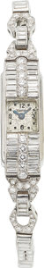 Estate Jewelry:Watches, LeCoultre Lady's Diamond, Platinum Watch Case:...