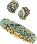Estate Jewelry:Suites, Turquoise, Sapphire, Diamond, Gold Jewelry Suite. ... (Total: 2Items)