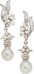 Estate Jewelry:Earrings, Diamond, South Sea Cultured Pearl, Platinum Earrings . ...