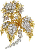 Estate Jewelry:Brooches - Pins, Diamond, Gold Brooch, Kurt Wayne The brooch fe...