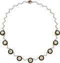 Estate Jewelry:Necklaces, Diamond, Enamel, Gold Necklace, S.V. Rudle. ...