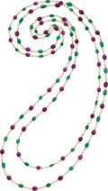 Estate Jewelry:Necklaces, Ruby, Emerald, Cultured Pearl, Gold Necklace. ...