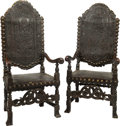 Furniture , A Pair of Spanish Oak and Tooled Leather Armchairs with Patinated Brass Studs, 19th century . 57 x 26-3/4 x 26-3/4 inches (1... (Total: 2 Items)