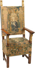 Furniture , A French Carved Walnut and Partial Gilt Chair Upholstery with an Aubusson Tapestry Fragment, late 18th-early 19th century. 5...