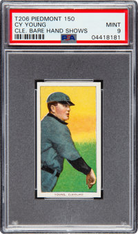 1909-11 T206 Piedmont 150 Cy Young (Bare Hand Shows) PSA Mint 9 - Pop Three, None Higher!
