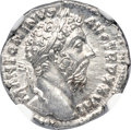 Ancients:Roman Imperial, Ancients: Marcus Aurelius (AD 161-180). AR denarius (18mm, 3.62 gm,6h). NGC Choice MS 5/5 - 4/5, Fine Style....