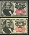 Fractional Currency:Fifth Issue, Fr. 1308 25¢ Fifth Issue Very Fine-Extremely Fine;. Fr. 1309 25¢Fifth Issue Choice About New. Bundle hole.. ... (Total: 2 notes)
