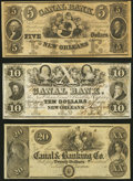 Obsoletes By State:Louisiana, New Orleans, LA - Canal Bank $5, $10, $20 Remainders. ... (Total: 3 notes)
