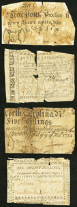 Colonial Notes:Mixed Colonies, Four Different North Carolina Issues. Good or better. . ... (Total:4 notes)
