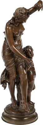 Emile Boisseau (French, 1842-1923) Amour Captif Bronze with brown patina 41 inches (104.1 cm)