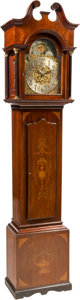 Furniture , A Chippendale-Style Marquetry-Inlaid Mahogany Tall Case Clock, circa 1900. Marks to mechanism: 280. 101-1/2 x 23-3/4 x 14-5/... (Total: 2 Items)