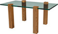Furniture : American, An American Modern Glass and Oak Occasional Table. 20 x 42 x 23-1/2inches (50.8 x 106.7 x 59.7 cm). ...